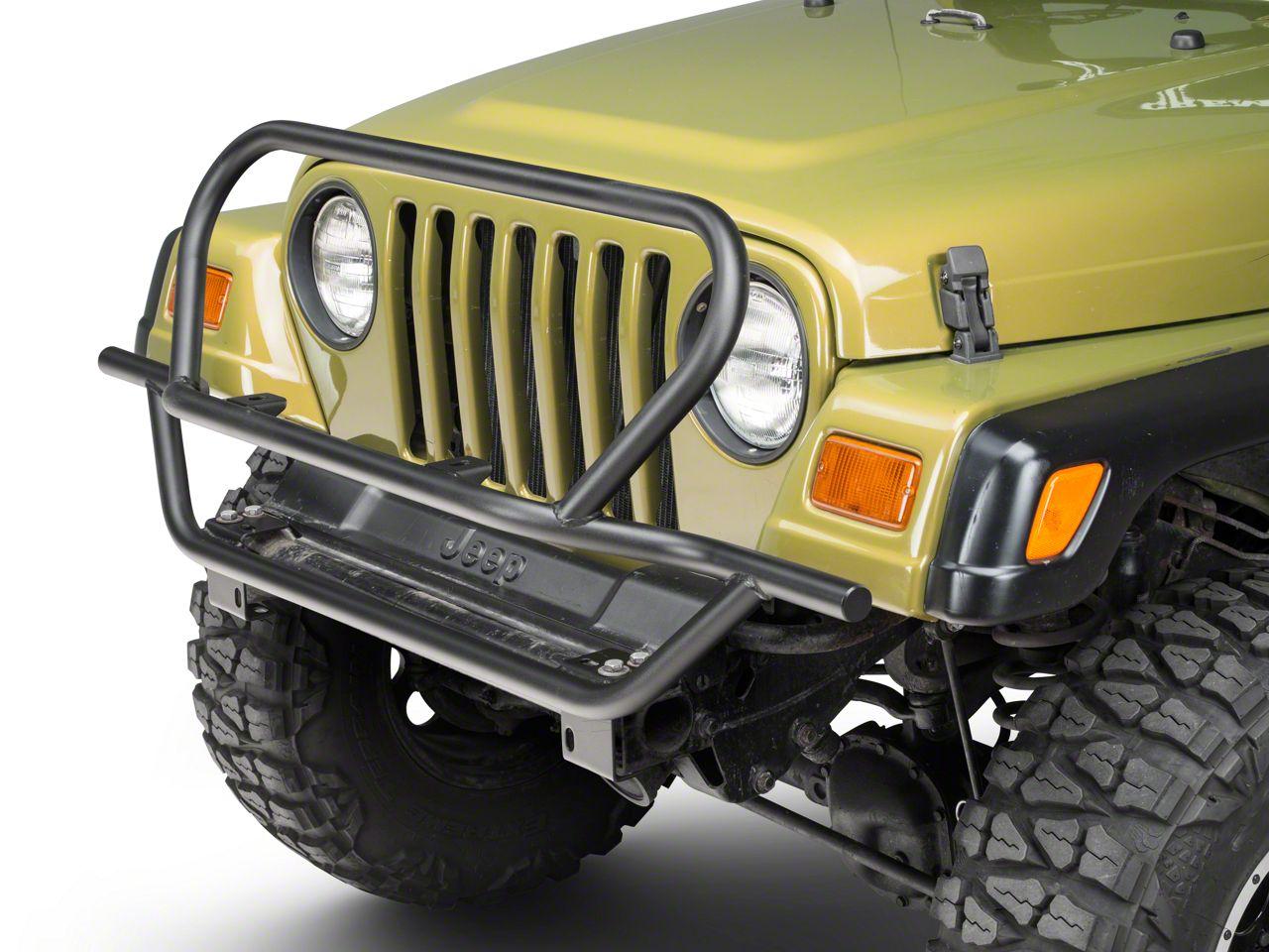 Olympic 4x4 A/T Rock Slider Front Bumper w/ Hoop - Textured Black (97-06 Jeep Wrangler TJ)