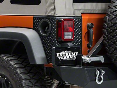 Rugged Ridge Rear Tall Corner Guards Body Armor - Black (07-18 Jeep Wrangler JK 2 Door)