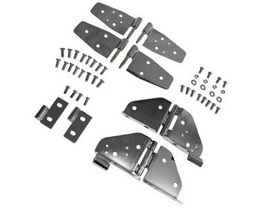 Rugged Ridge Stainless Steel Hinge Kit - Black Chrome (87-95 Jeep Wrangler YJ w/ Half Doors)