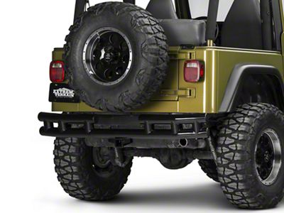 Rugged Ridge Tubular Rear Bumper w/ Hitch - Gloss Black (87-06 Jeep Wrangler YJ & TJ)