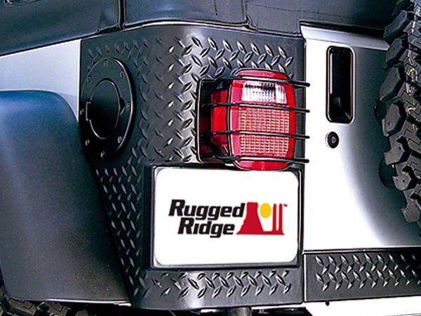 Rugged Ridge Rear Euro Tail Light Guards - Black (87-06 Jeep Wrangler YJ & TJ)