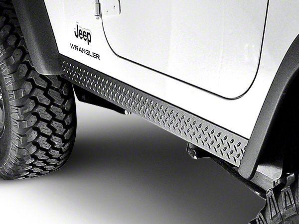 Rugged Ridge Rocker Side Panel Pair - Diamond Textured Black Plastic (97-06 Jeep Wrangler TJ)