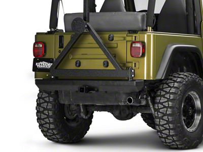 Rugged Ridge Classic Rock Crawler Rear Bumper w/ Tire Carrier - Textured Black (87-06 Jeep Wrangler YJ & TJ)