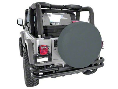 Rugged Ridge Spare Tire Cover for 27-29 in. Tire - Black Denim (87-18 Jeep Wrangler YJ, TJ, JK & JL)