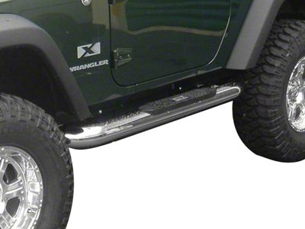 Rugged Ridge 4 in. Round Nerf Bars - Stainless Steel (07-18 Jeep Wrangler JK 2 Door)