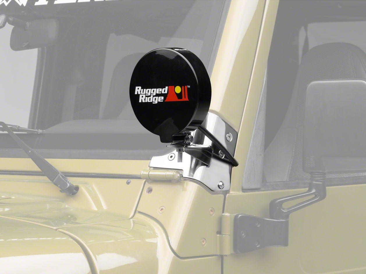 Rugged Ridge 6 in. Slim Round Halogen Fog Lights w/ Stainless Steel Windshield Mounting Brackets (97-06 Jeep Wrangler TJ)