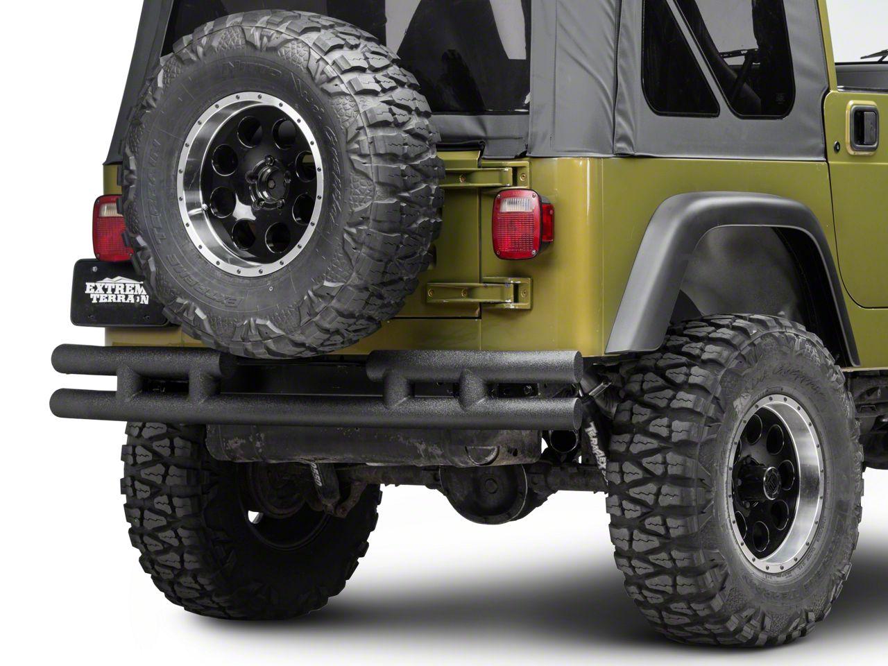 Rugged Ridge Tubular Rear Bumper w/o Hitch - Textured Black (87-06 Jeep Wrangler YJ & TJ)