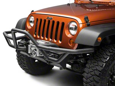 Rugged Ridge RRC Mount for XHD Front Bumper w/ 7 in. Flares - Textured Black (07-18 Jeep Wrangler JK)