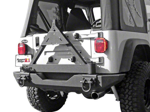 Rugged Ridge Tire Carrier for XHD Rear Bumper (87-06 Jeep Wrangler YJ & TJ)