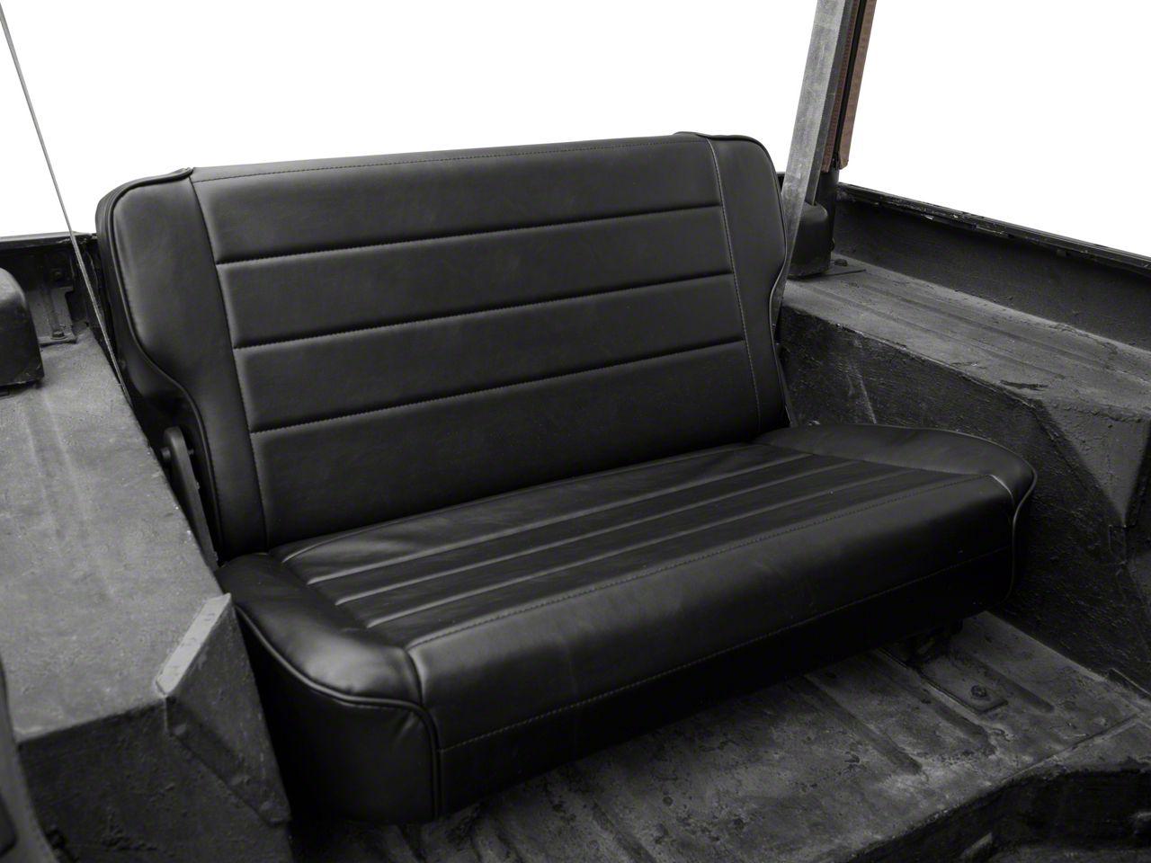 Smittybilt Rear Fold & Tumble Seat - Traditional Black (87-95 Jeep Wrangler YJ)