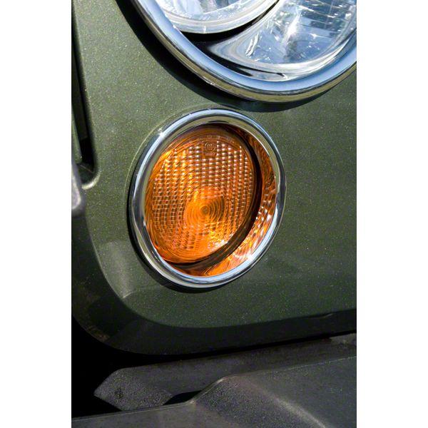 Rugged Ridge Turn Signal Lamp Covers - Chrome (07-18 Jeep Wrangler JK)