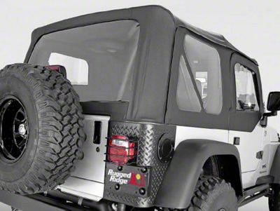 Rugged Ridge XHD Soft Top w/ Clear Windows & No Door Skins - Black Diamond (03-06 Jeep Wrangler TJ w/ Factory Soft Top, Excluding Unlimited)