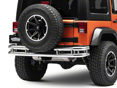 Smittybilt Tubular Rear Bumper w/ Hitch - Stainless Steel (07-18 Jeep Wrangler JK)