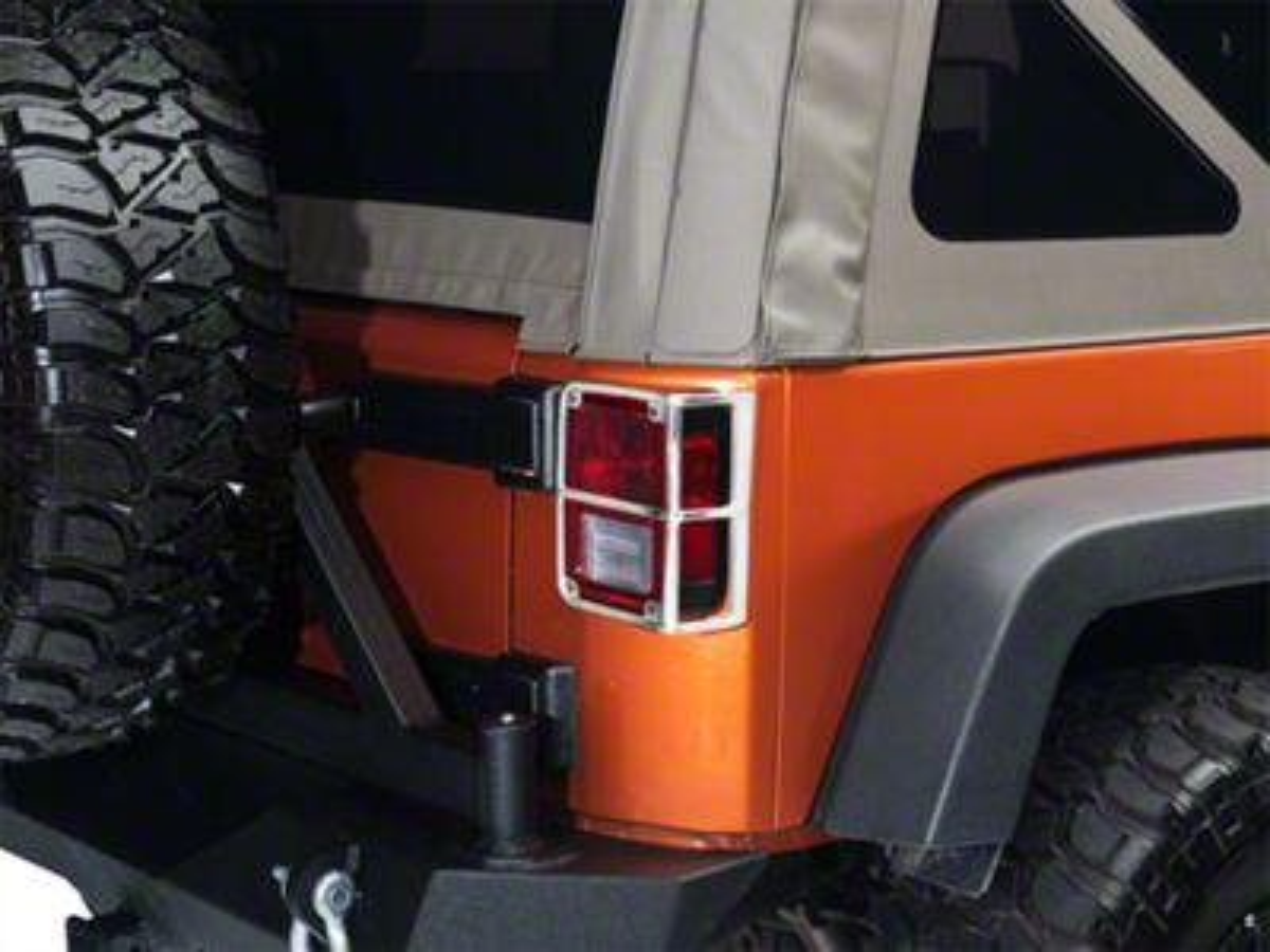 Smittybilt Euro Tail Light Guards - Stainless Steel (07-18 Jeep Wrangler JK)