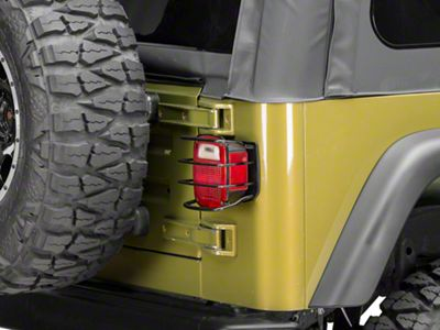 Smittybilt Euro Tail Light Guards - Black (87-06 Jeep Wrangler YJ & TJ)