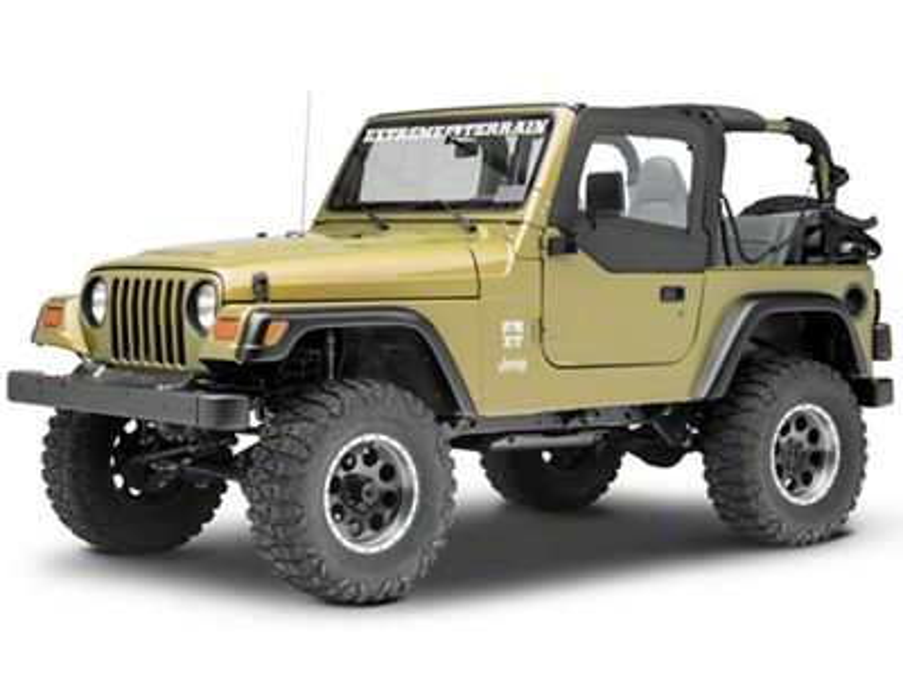 Smittybilt Soft Top Door Skin w/ Frame & Clear Windows - Driver Side - Black Denim (97-06 Jeep Wrangler TJ)