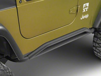 Smittybilt SRC Rocker Guards - Textured Black (87-06 Jeep Wrangler YJ & TJ, Excluding Unlimited)