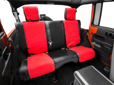 Smittybilt XRC Rear Seat Cover - Black/Red (08-18 Jeep Wrangler JK 4 Door)