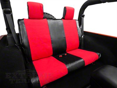 Smittybilt XRC Rear Seat Cover - Black/Red (07-18 Jeep Wrangler JK 2 Door)