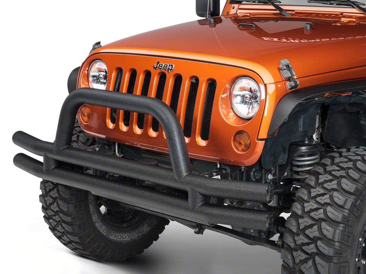 Smittybilt 3 in. Front Tubular Bumper w/ Hoop - Textured Black (07-18 Jeep Wrangler JK)
