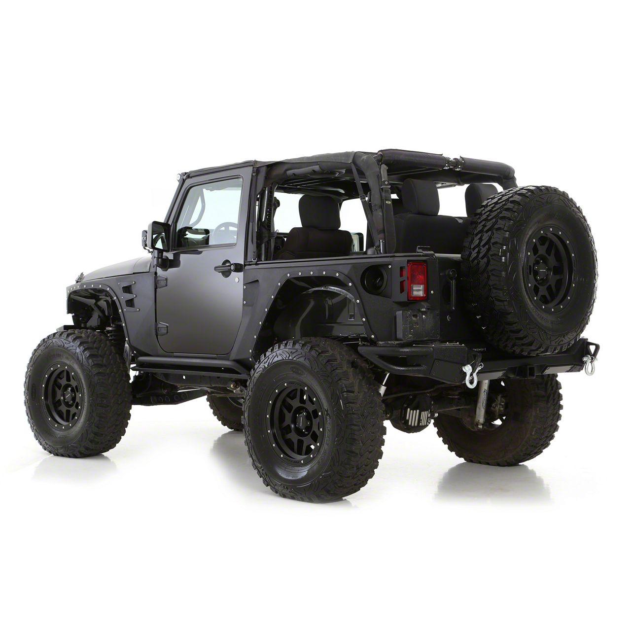 Smittybilt XRC Rear Corner Guards - Black Textured (07-18 Jeep Wrangler JK 2 Door)