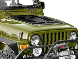 Hyline Offroad Hood Louver Panel - Black (97-02 Jeep Wrangler TJ)