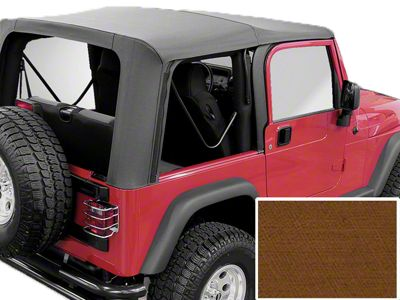 Rugged Ridge Soft Top w/ Clear Windows & No Door Skins - Dark Tan (97-02 Jeep Wrangler TJ w/ Factory Soft Top)