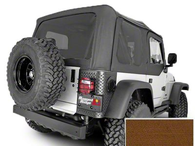 Rugged Ridge XHD Replacement Soft Top w/ Tinted Windows & No Door Skins - Dark Tan (97-02 Jeep Wrangler TJ w/ Factory Soft Top)
