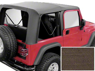 Rugged Ridge Soft Top w/ Clear Windows & No Door Skins - Khaki Diamond (03-06 Jeep Wrangler TJ w/ Factory Soft Top, Excluding Unlimited)