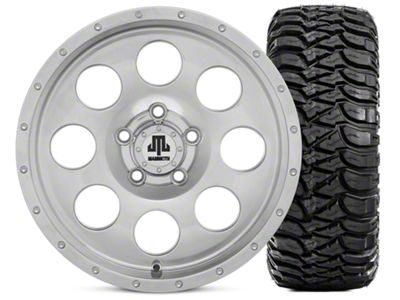 Mammoth 8 Beadlock Style Polished 15x8 Wheel & Mickey Thompson Baja MTZ 33X12.50R15 Tire Kit (87-06 Jeep Wrangler YJ & TJ)