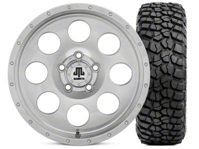 Mammoth 8 Beadlock Style Polished 15x8 Wheel & BFG KM2 35x12.5- 15 Tire Kit (87-06 Jeep Wrangler YJ & TJ)