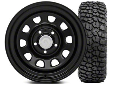 Mammoth D Window Steel 15x8 Wheel & BFG KM2 35x12.5- 15 Tire Kit (87-06 Jeep Wrangler YJ & TJ)