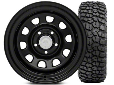 Mammoth D Window Steel 15x10 Wheel & BFG KM2 33x10.5 - 15 Tire Kit (87-06 Jeep Wrangler YJ & TJ)
