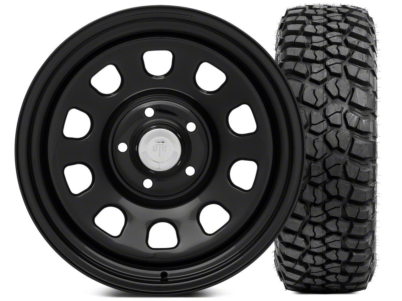 Mammoth D Window Steel 17x9 Wheel and BFG KM2 Tire 305/70 - 17 Tire Kit (07-18 Jeep Wrangler JK)