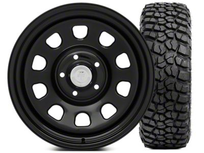 Mammoth D Window Steel 17x9 Wheel and BFG KM2 Tire 35x12.5 - 17 Tire Kit (07-18 Jeep Wrangler JK)