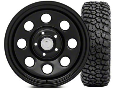 Mammoth 8 Wheel - Steel 17x9 Wheel and BFG KM2 Tire 265/70- 17 Tire Kit (07-18 Jeep Wrangler JK)