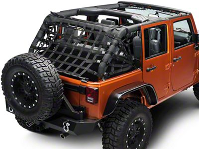 Dirty Dog 4x4 Rear Spider Netting - Black (07-18 Jeep Wrangler JK 4 Door)