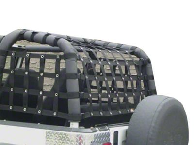 Dirty Dog 4x4 Rear Netting - Black (92-95 Jeep Wrangler YJ)