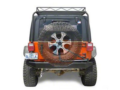 Olympic 4x4 550 Rock Bumper w/ Tire Carrier - Textured Black (07-18 Jeep Wrangler JK)