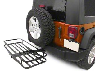 Olympic 4x4 Receiver Rack - Textured Black (87-18 Jeep Wrangler YJ, TJ, JK & JL)