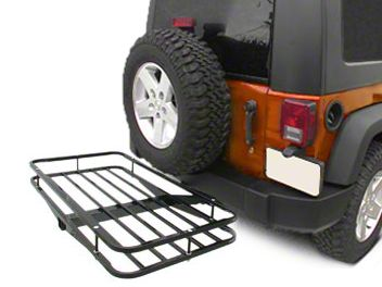 Olympic 4x4 Deluxe Receiver Rack - Textured Black (87-19 Jeep Wrangler YJ, TJ, JK & JL)
