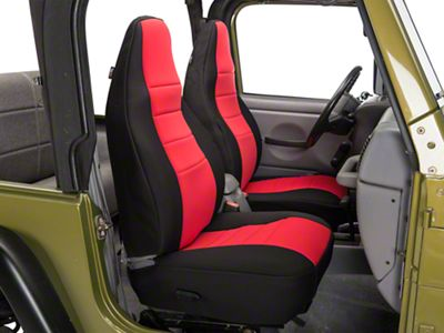 Rugged Ridge Neoprene Front Seat Covers - Red (97-02 Jeep Wrangler TJ)