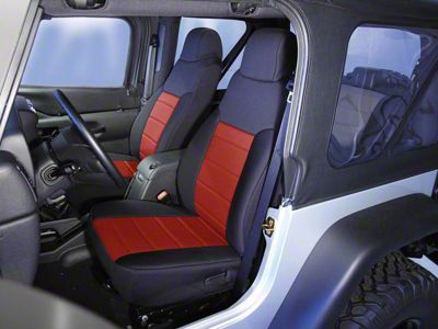 Rugged Ridge Neoprene Front Seat Covers - Red (91-95 Jeep Wrangler YJ)