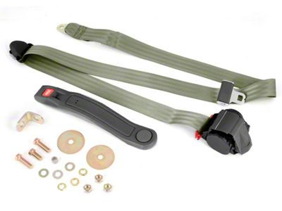 Omix-ADA Retractable 3-Point Seat Belt - Olive Drab (87-95 Jeep Wrangler YJ)