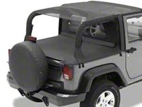 Bestop Safari Bikini Top w/ Windshield Channel - Cable Style - Black Mesh (10-18 Jeep Wrangler JK 2 Door)