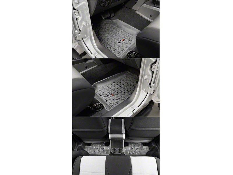 Rugged Ridge All Terrain Front & Rear Floor Mats - Gray (07-13 Jeep Wrangler JK 2 Door)