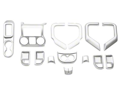 Rugged Ridge Interior Trim Accent Kit - Brushed Silver (11-18 Jeep Wrangler JK 4 Door w/ Automatic Transmission)