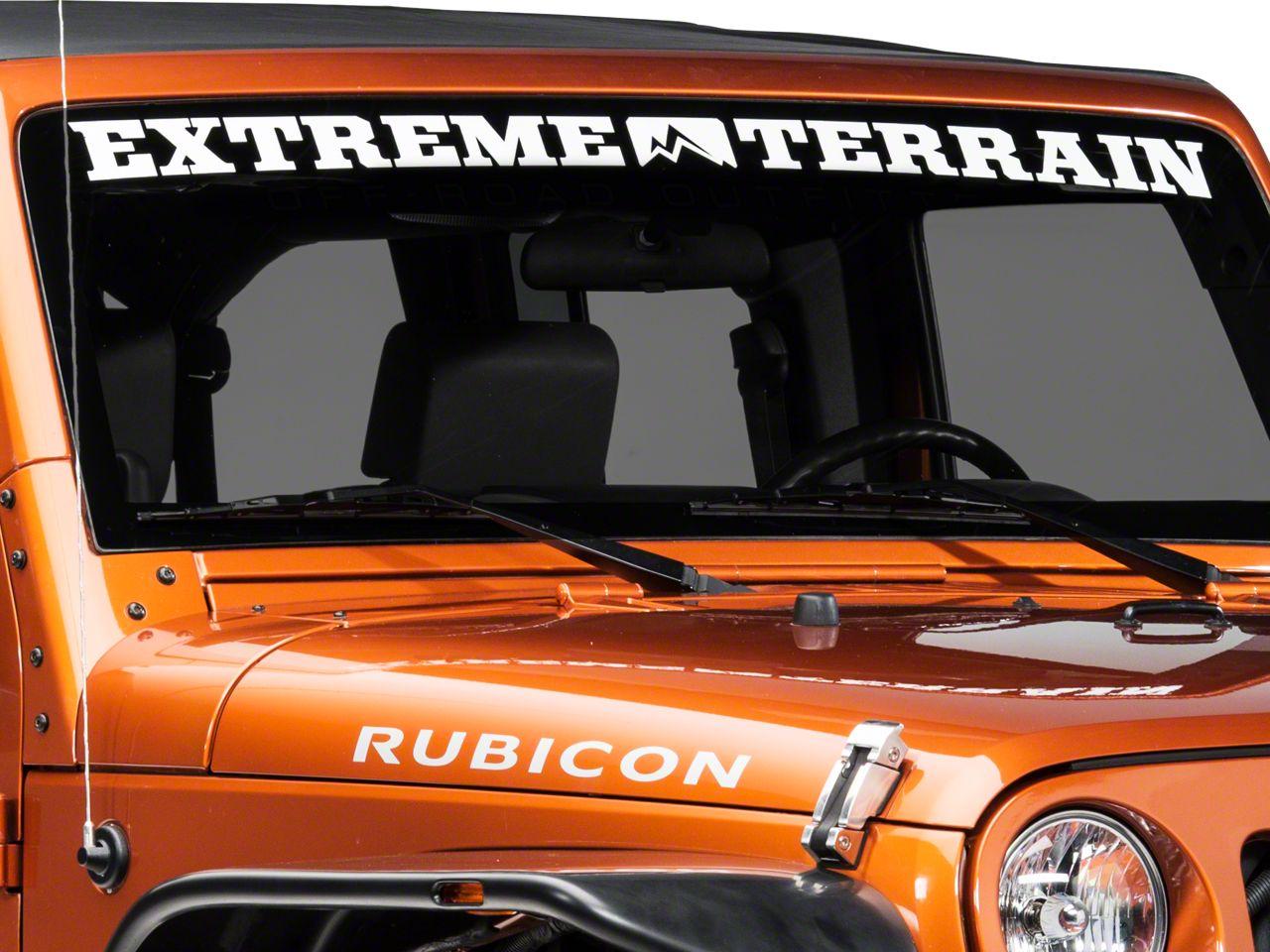 ExtremeTerrain Windshield Banner - White (87-18 Jeep Wrangler YJ, TJ, JK & JL)