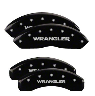 MGP Black Caliper Covers w/ Jeep Wrangler Logo - Front & Rear (18-19 Jeep Wrangler JL)