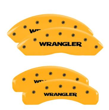 MGP Yellow Caliper Covers w/ Jeep Wrangler Logo - Front & Rear (18-19 Jeep Wrangler JL)